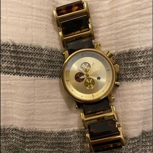 Vestal unisex gold and tortoise shell watch
